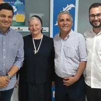 Irma Roberta, Milla e Mingo prestigiando a equipe do Bom Jesus